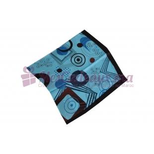 Foulard Satin de soie imprimé - Motifs carrés - Bleu