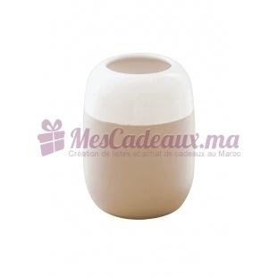 Vase bicolore beige en céramique