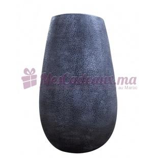 Vase en céramique Texture Métallisée Grise