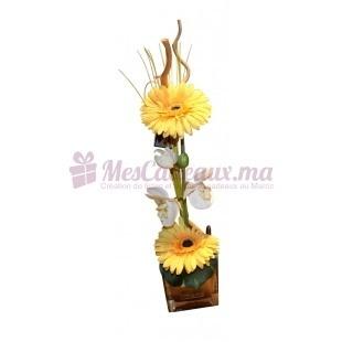 Vase Avec Orchidée Et Gerberas Jaune - Daniele Roche