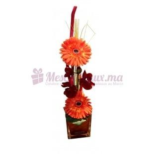 Vase Avec Orchidée Et Gerberas Orange - Daniele Roche