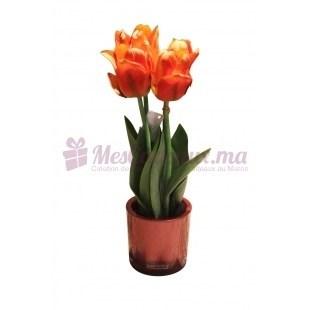 Vase Rond Avec Tulipe - Daniele Roche