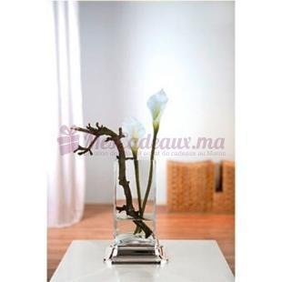 Vase verre et Métal Argenté 119010 - Fink