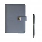 Pack carnet notebook + stylo en métal gris