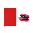 Pack carnet notebook + power bank rouge