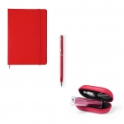 Pack carnet notebook + stylo en métal + power bank rouge