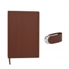 Pack carnet notebook + clé usb en cuir marron