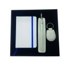 Coffret bloc-notes + stylo + porte-clés white