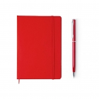 Pack carnet notebook + stylo en métal rouge