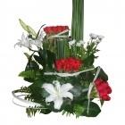 Bouquet de roses et de Lys orientaux blancs