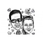 Caricatures Noir et Blanc pour couple