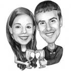 Caricature couple numérique noir et blanc