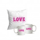 Coussin + 2 mugs Love