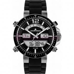 Montre - Jacques Lemans - Bracelet Silicone Noir 1-1712A