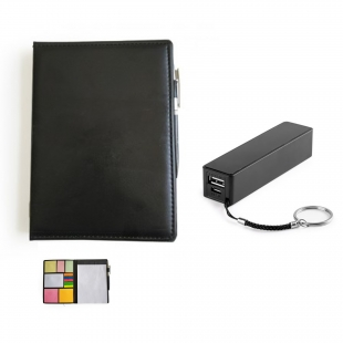 Pack carnet notebook + power bank noir