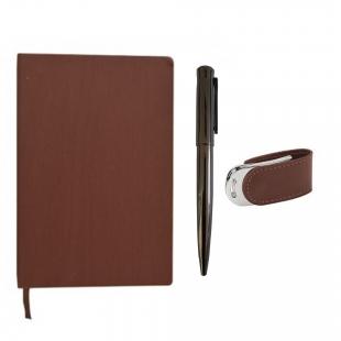 Pack carnet notebook + clé usb en cuir marron + stylo en métal