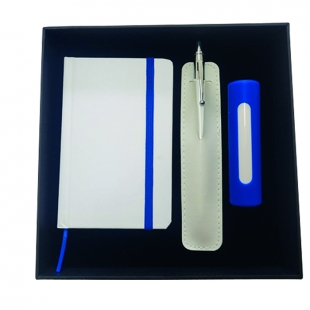 Coffret bloc-notes + stylo + power-bank Blue Line