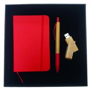 Coffret bloc-notes + stylo + clé USB Red Nature