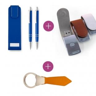Pack Set stylos Aluminium+ Clé usb Métallique+ Porte-clés cravate