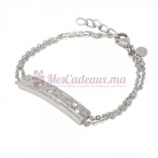 Bracelet Chaine Plaque Argenté & Pierre - Ted Lapidus D51024Z