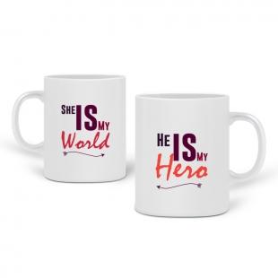 Pair de mugs amoureux