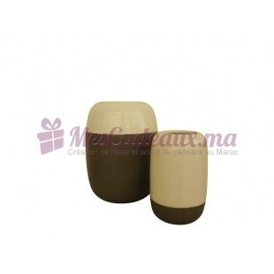 Paire de vases bicolores gris