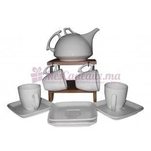 Set De Café en Ceramique Avec Support En Bois - 9 Pcs