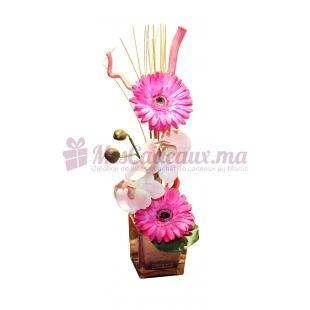 Vase Avec Orchidée Et Gerberas Rose - Daniele Roche