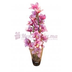 Vase En Verre Soufflé Avec Orchidée - Daniele Roche